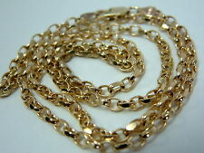 LOVELY SOLID 9CT YELLOW GOLD OVAL FACETED BELCHER CHAIN FOR PENDANT - 24 INCHES
