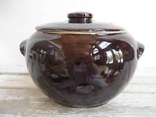 Vintage Covered Bean Pot Casserole Pot Cookie Jar Dark Brown Stoneware USA