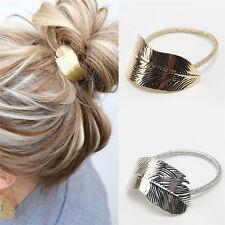 2Pcs Women Lady Leaf Hair Band Rope Headband Elastic Ponytail Holder Gift W87