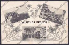 BRESCIA CITTÀ 133 SALUTI da... CASTELLO - MUNICIPIO Cartolina VIAGGIATA 1910