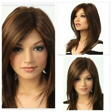 Fashion Mix Brown Medium Long Straight Cosplay Women Heat Daily Full Hair Wig