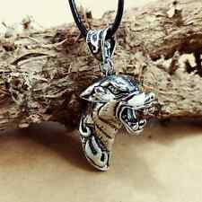Personality Stainless Steel Silver Hollow wolf's head pendants necklacee AA163
