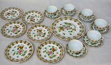 Vintage Hand Painted Porcelain Chinese Tea Set Cup Saucer Plate 19 Pc Set