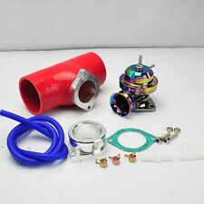"""NEO CHROME TURBO TYPE-RS BOV BLOW OFF VALVE +2.5"""" RED SILICONE COUPLER ADAPTER"""