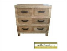 NEW Rustic Recycled Elm Timber 6 Drawer Narrow Chest Of Drawers, Natural Colour
