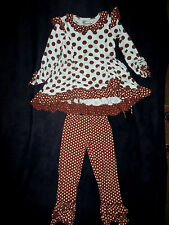 Mustard Pie Tunic and Leggings Set Polka Dot Girls Sz 5 in Good Condition!