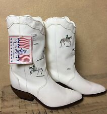 Vintage Zodiac Frontier White Leather Western Boots Soft w Artwork Size 9 Womans