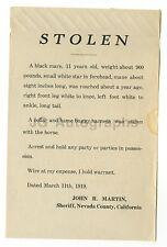 "Wanted Notice - ""Stolen"" Black Mare - Nevada County, California, 1919"