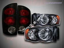2002-2005 Dodge Ram 1500 / 2003-2005 2500 3500 Headlights Black + Tail Lights