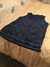 New Joe Brown's Mult-Blue Smock Tank Top with Front Pockets Size 28, Really Cute