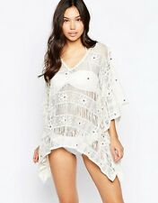 Liquorish Crochet Beach Kaftan Poncho Cream  one size