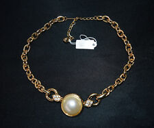 NOS NWT Vtg PARK LANE Chain Necklace Pearl Rhinestone Pendant Costume Jewelry