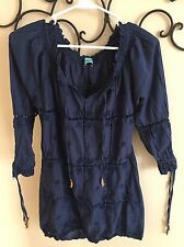 LETARTE Navy Midnight Deep U Beach Tunic Cover Up Sz XL EUC