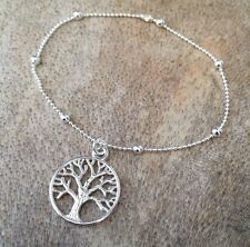 Dainty Silver Beaded Tree Of Life Bracelet Bangle or Anklet ALL SIZES
