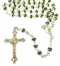 Catholic Gift boxed green metal rosary beads strong wire unique