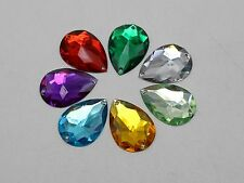 50 Mixed Color Flatback Acrylic Sewing Rhinestone Teardrop Sew On Beads 18X25mm