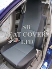 TO FIT A PERODUA MYVI, CAR SEAT COVERS CHARCOAL EBONY + BLUE PIPING