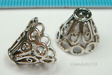 2x STERLING SILVER OXIDIZED FLOWER BEAD CAP SPACER BEAD 12mm #1239