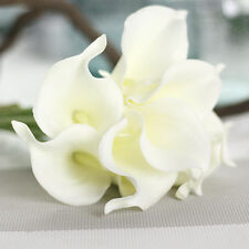 Artificial Calla Lily PU Flowers Bouquet Home Wedding Bridal Party Vase Decor .