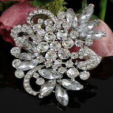 Silver Flower Clear Rhinestone Crystal Brooch Pin Lady Wedding Party Brooches