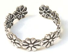 Funky 925 Solid Sterling Silver Daisy Chain Flower Toe Ring - 4.5 mm Wide