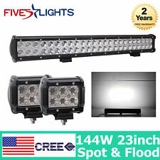 23inch 144W CREE Led Light Bar Combo beam+ 2X 18W  work Light Mining offroad 4WD