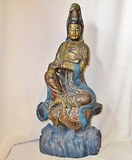 """24.75"""" Antique Chinese Painted & Gold Gilt Carved Wood KWAN-YIN Statue with Ruyi"""