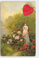 ANTIQUE VINTAGE VALENTINE'S DAY POSTCARD WOMAN GIRL IN FIELD OF FLOWERS