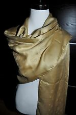 "NEW $600 Cartier Paris Beige Logo Wool Silk Scarf Shawl Stole Wrap 82""x26"""