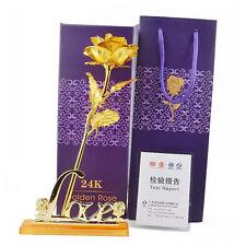 24K Gold Rose Flower Dipped Long Stem Golden Flower Valentine's Day Lovers' Gift