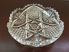 Antique ABP Lead Crystal Bowl Cross Cut Diamond w/ Cross Hatching Pattern 5""