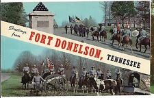FORT DONELSON Name Band 2 Views, Dover Tennessee Postcard TN  Canon Horses
