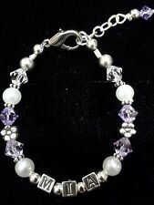 Infant baby personalized Swarovski crystal bracelet 7 LETTERS FREE NOTE INCLUDED