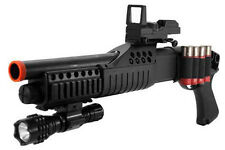 Airsoft Shot Gun With Tactical Flashlight, Red Dot Scope 320 FPS Shell Load BB