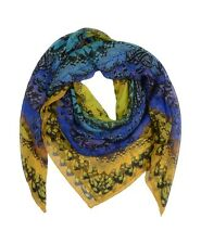 Alexander McQueen Large Blue /Yellow Print Silk Scarf  - New