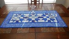 Handmade multicolor quilted cotton Christmas table runner featuring Santa Claus