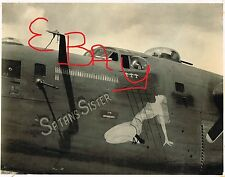 WWII  8X10 PHOTO OF 90TH BOMBER GROUP NOSE ART B-24 SATANS SISTER CLOSE UP LOOK