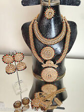 INDIAN PAKISTANI BRIDAL HANDMADE ALLOY JEWELLERY SET GOLD PLATED NEW