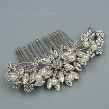 Bridal Hair Comb Pearl Crystal Headpiece Hair Clip Pin Wedding Accessories 09225