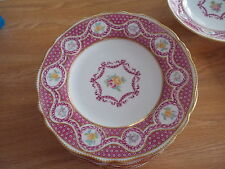 "Set of 12 COPELAND SPODE 9"" Dinner Plates - Pink Design w/Yellow & Pink Roses"