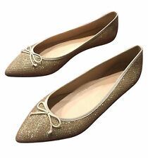 J.CREW NWT Gemma Glitter Ballet Flats LEATHER Size 7.5 Metallic Sand Gold Shoes