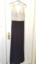 House of Fraser Untold v-neck full-length formal silver sequin gown NWT UK8/US4