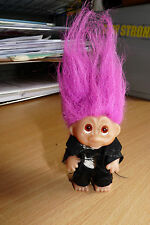 VINTAGE  TROLL DOLL - FLAME PINK  HAIR - SILK SUIT  -  PLS LOOK!
