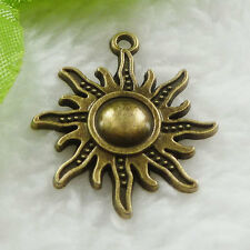 Free Ship 60 pcs bronze plated sun charms 28x25mm #639