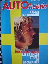 rare auto hebdo 1978 RONNIE PETERSON / RENAULT 8 GORDINI / TAMBAY
