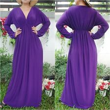 NWT Vneck Purple Long Sleeve Maxi Dress Casual Cocktail Party Club Wear Sz 2XL