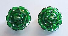 "Vintage Designer Emerald Green Gripoix poured glass Cabochon ""Flower"" Earrings"
