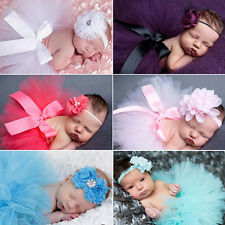 Fashion Pink Newborn Baby Headband+Tutu Skirt Clothes Photo Prop Costume Outfits