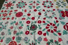 VINTAGE OLD STUNNING APPLIQUE HAND SEWN RED IVORY TEAL FLORAL 87 X 87 QUILT  #2