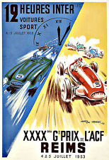 Art Ad Reims 12 Heures Internationales  1953 Grand Prix  Deco Poster Print